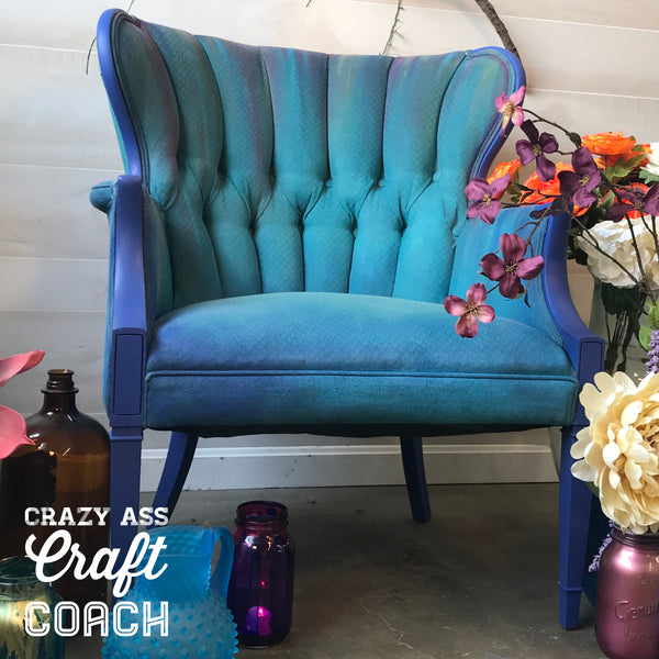 How to Paint Upholstery Blue Painted Wingback Chair Tanglewood Sue