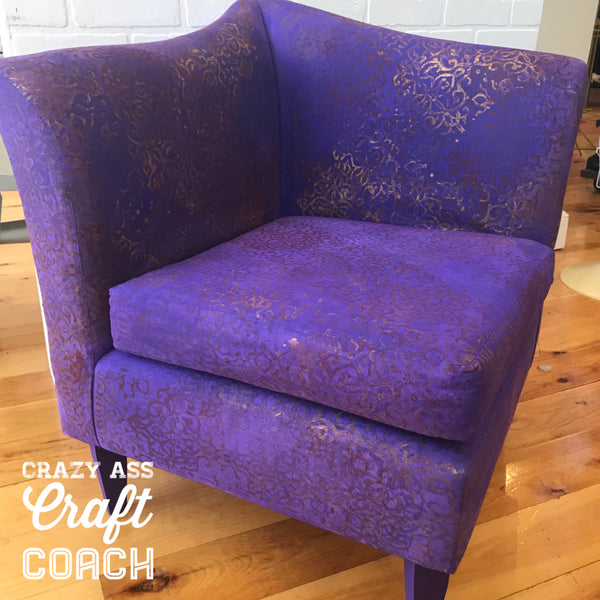 How to Paint Upholstery - Purple Corner Chair - Tanglewood Sue