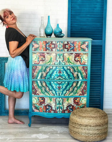 Custom Fabric Design Hand Painted Furniture