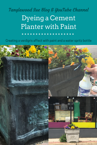 Dyeing a Cement Planter with Paint