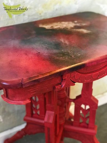 Reinvented Antique Marble Table in shades of Red Galaxy