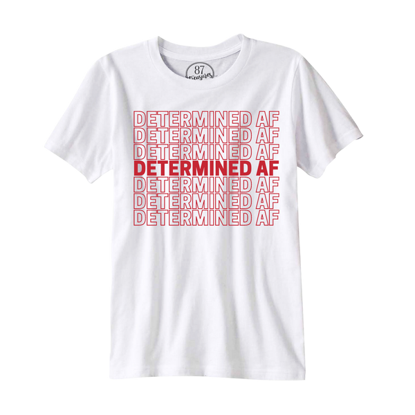 White 87 Treasures Determined AF crew neck t-shirt