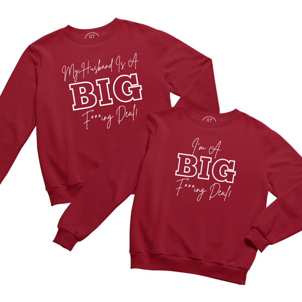Red Black 87 Treasures Crew Neck Sweater My husband is a Big Deal