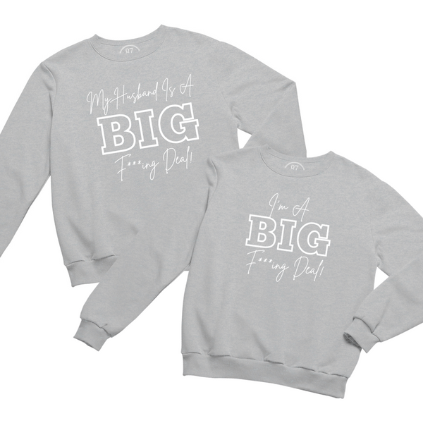 Grey Black 87 Treasures Crew Neck Sweater My husband is a Big Deal