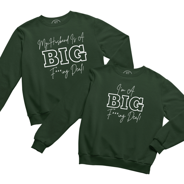 Green Black 87 Treasures Crew Neck Sweater My husband is a Big Deal
