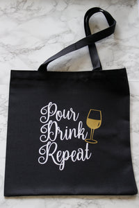 Pour Drink Repeat Tote Bag