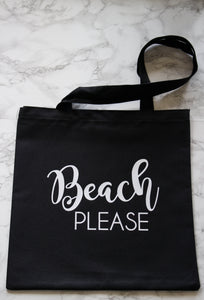 black cotton canvas beach please tote bag
