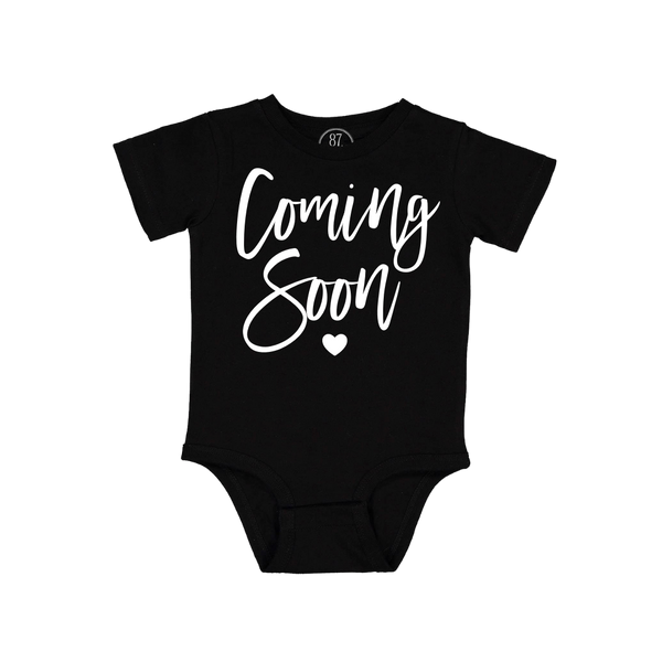 87 Treasures Black Coming Soon Pregnancy Announcement Baby Onesie