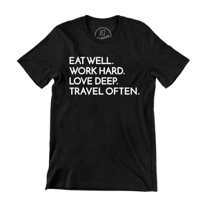 Black 87 treasures eat well work hard love deep travel often crew neck shirt life goals