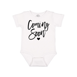White 87 Treasures Coming Soon Pregnancy Announcement Baby Onesie