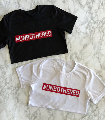 87 Treasures unbothered crew neck t shirt red black white statement