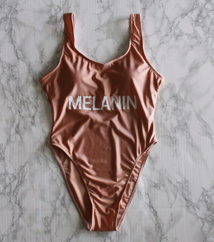 87 Treasures Melanin rose gold peach champagne swimsuit