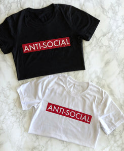87 Treasures Anti Social black red white t shirt