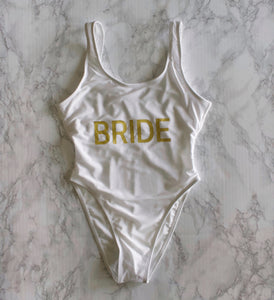 87 Treasures white bride bachelorette swim suit