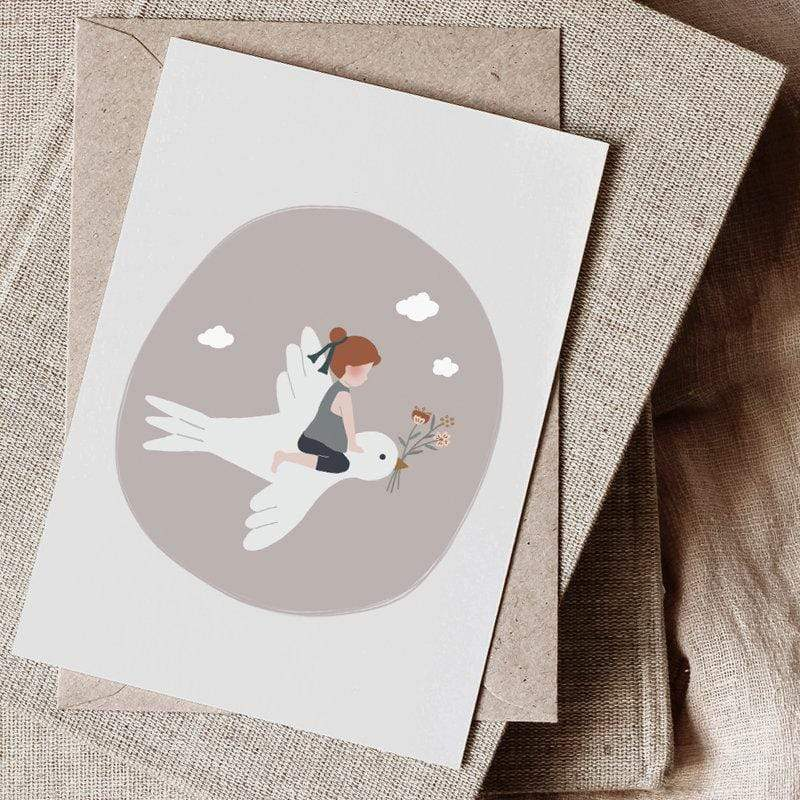 Atelier Oranger Postcards Liberty Child & Bird Neutral