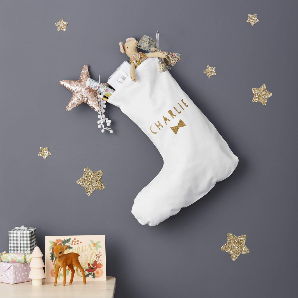 Little Cloud Christmas Liberty & Glitter Bow Personalised Stocking