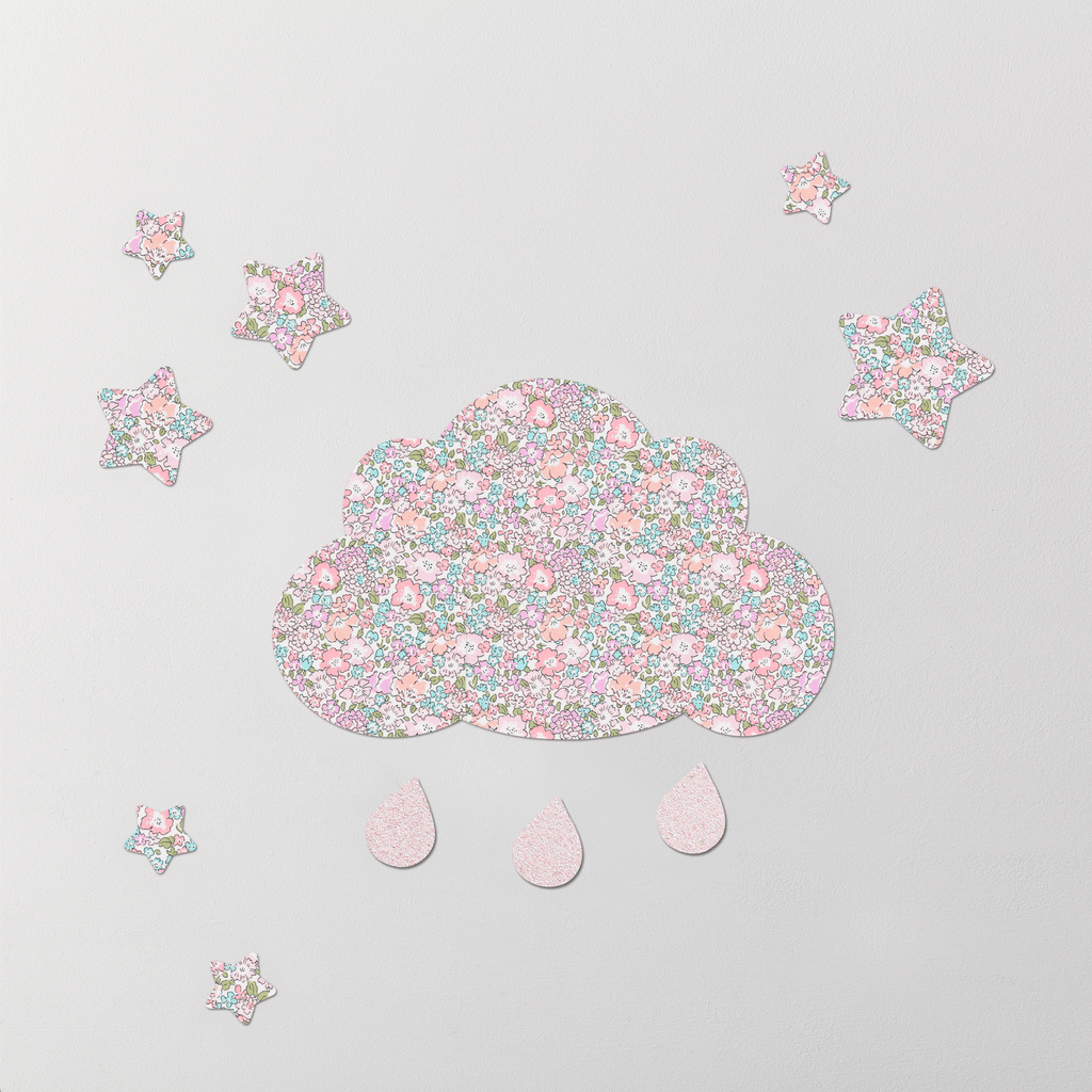 Little Cloud Cloud Wall Stickers Liberty Michelle Pastel Liberty Cloud & Stars Wall Stickers Set