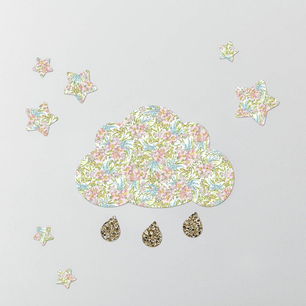 Little Cloud Cloud Wall Stickers Liberty Swirling Petals Liberty Cloud & Stars Wall Stickers Set