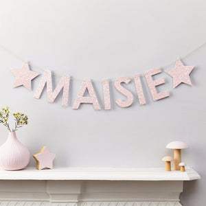 Little Cloud Garland Liberty Pink Glitter Name Banner