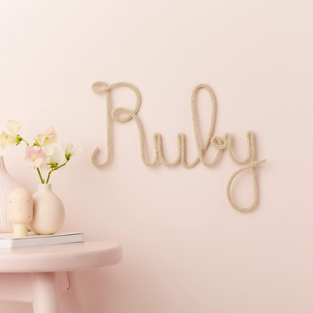 Little Cloud Knit Name Signs Metallic Gold Name Knit Sign