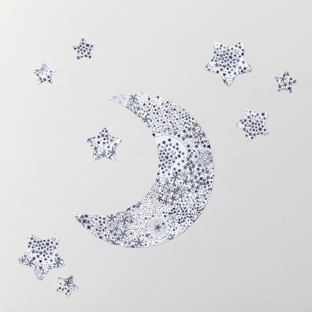 Little Cloud Moon Wall Stickers Liberty Adelajda Blue Liberty Moon & Stars Wall Stickers Set