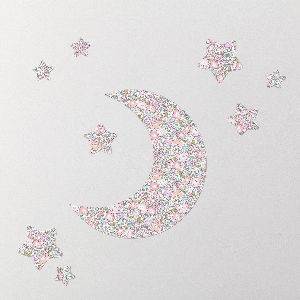 Little Cloud Moon Wall Stickers Liberty Michelle Pastel Moon & Stars Wall Stickers Set