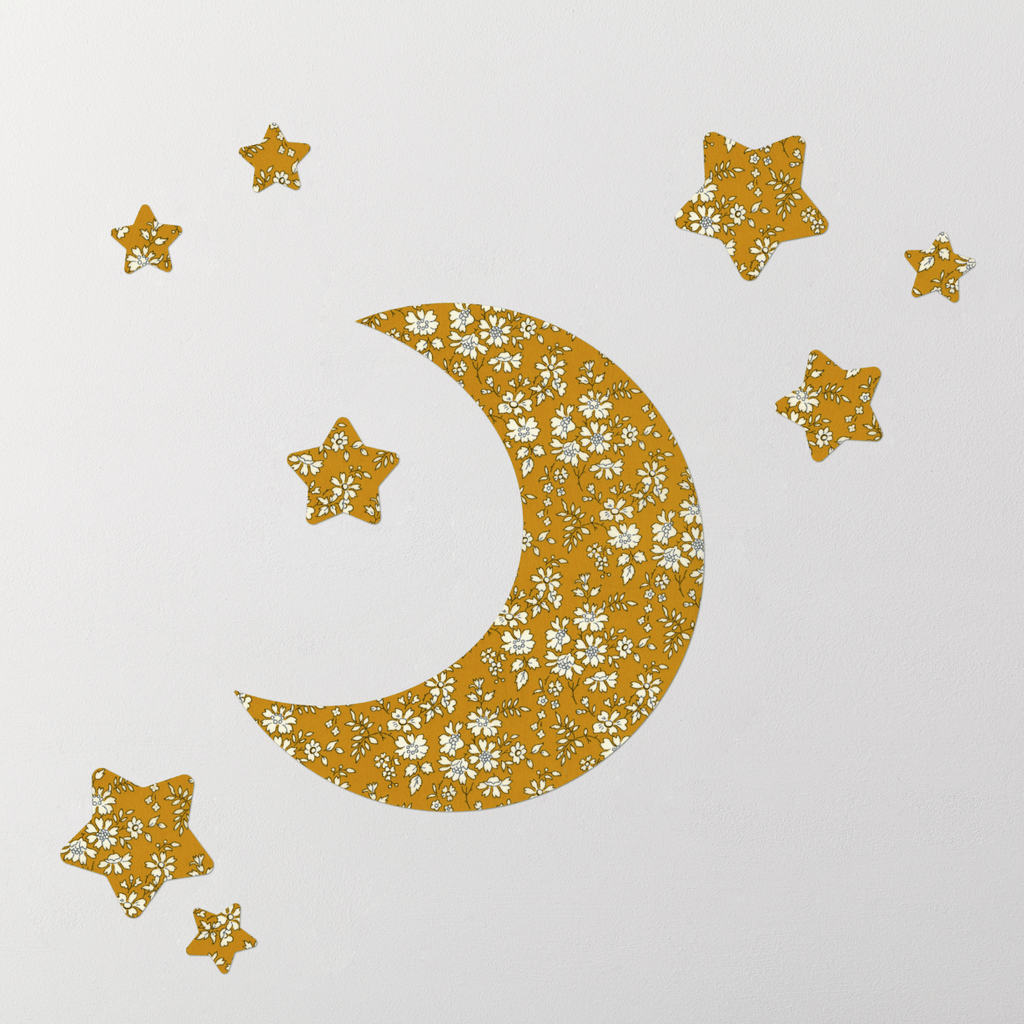 Little Cloud Moon Wall Stickers Liberty Mustard Capel Moon & Stars Wall Stickers Set