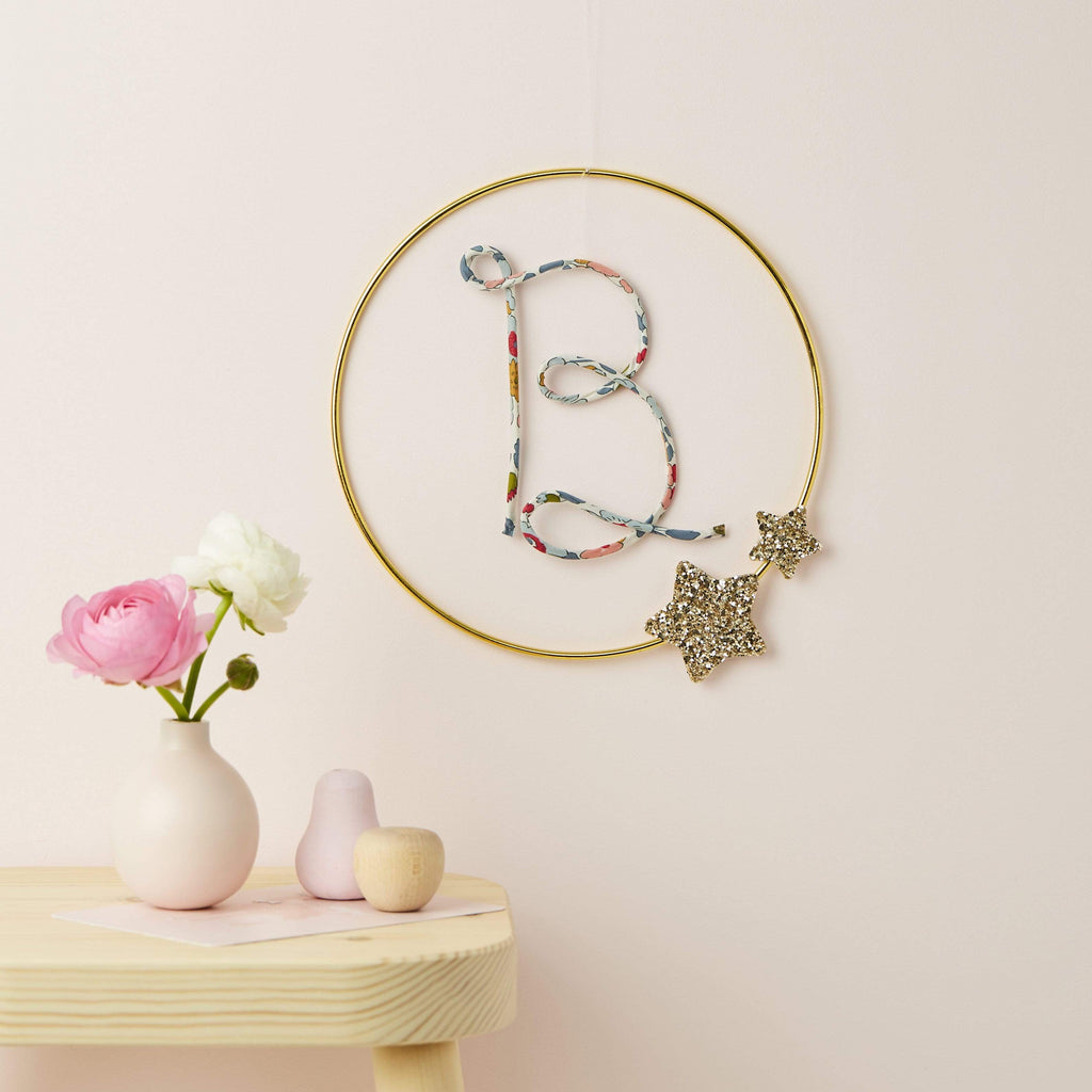 Hoop with Liberty/Knit Initial Sign