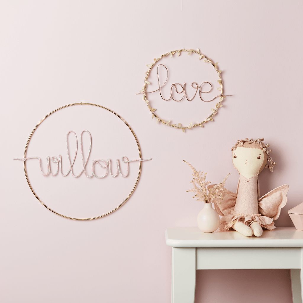 Little Cloud Name Hoops Gold Small Wreath Name Sign (more options available)