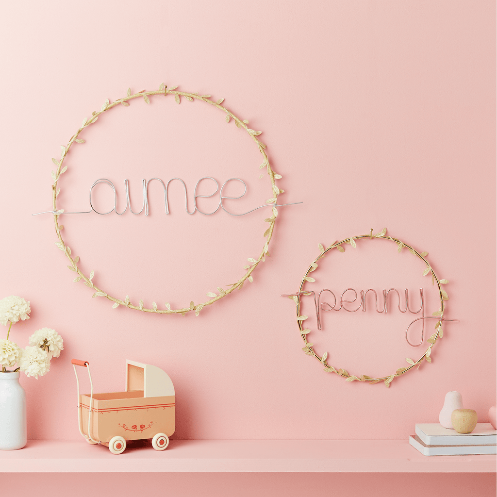 Little Cloud Name Hoops Small Gold Wreath Name Sign