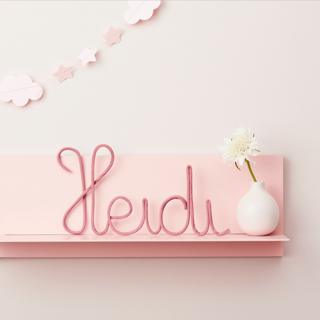 Little Cloud Plain Fabric Signs Rose Pink Name Sign