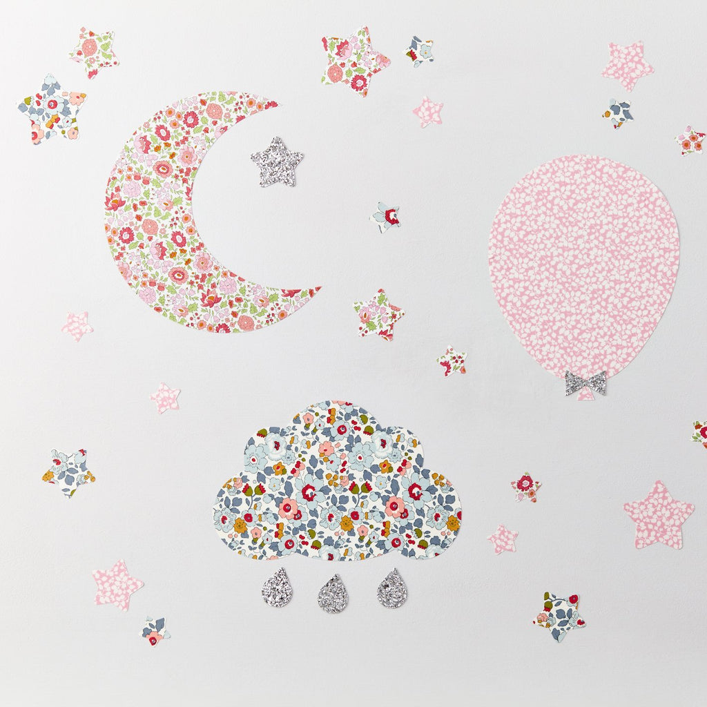 Little Cloud Wall Stickers Liberty Betsy Grey Liberty Cloud & Stars Wall Stickers Set