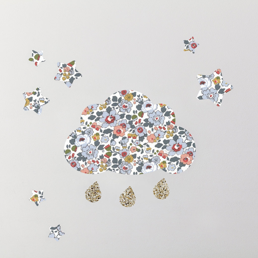 Little Cloud Wall Stickers Liberty Betsy Grey Liberty Cloud & Stars Wall Stickers Set Gold