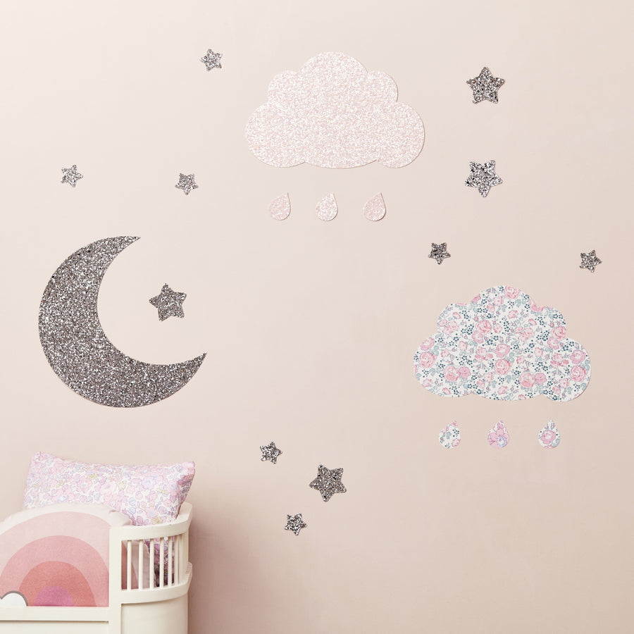 Little Cloud Wall Stickers Liberty Pale Pink Glitter Cloud & Stars Wall Stickers Set Silver