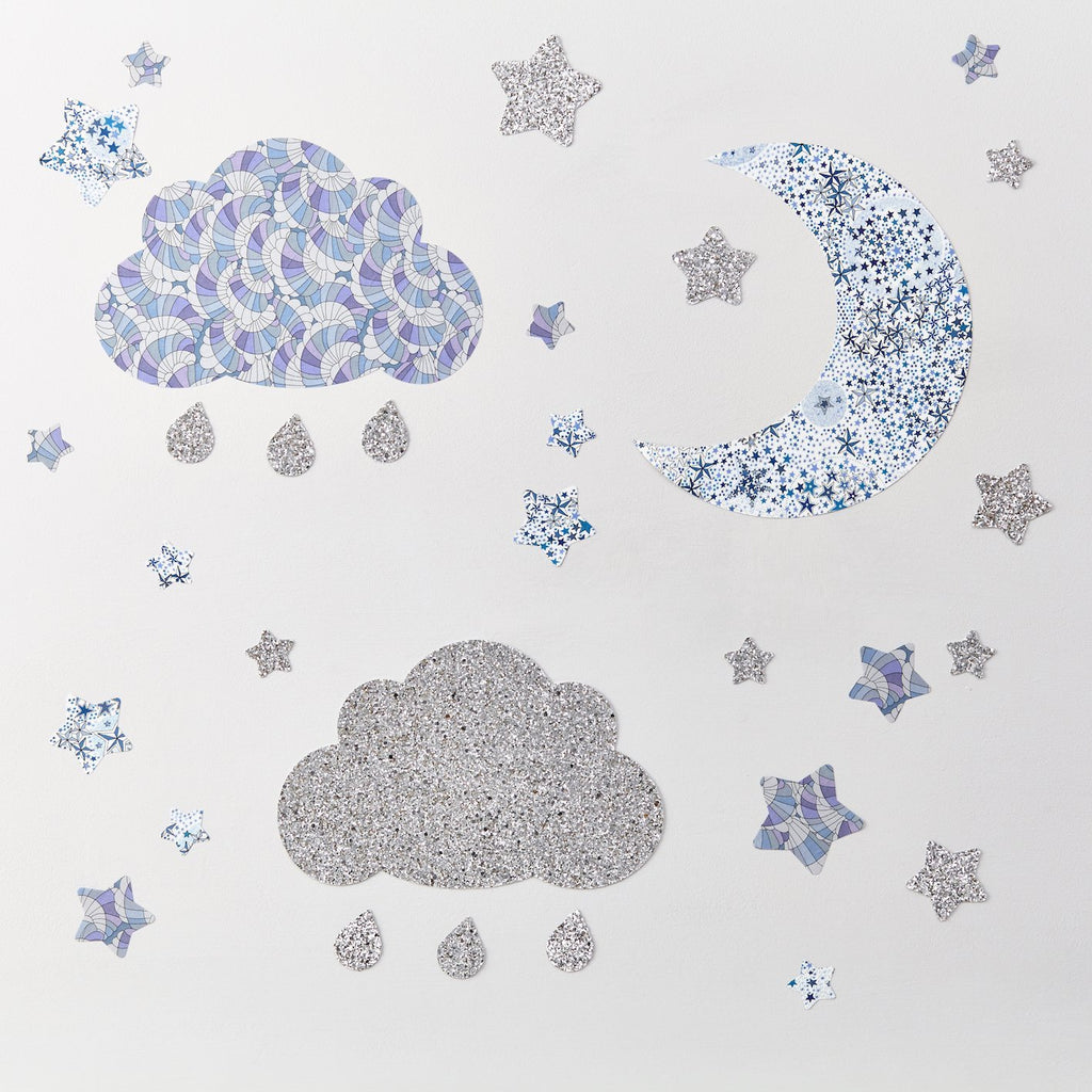 Silver Glitter Cloud & Stars Wall Stickers Set
