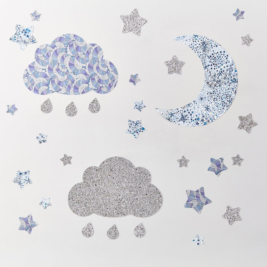 Little Cloud Wall Stickers Liberty Silver Glitter Cloud & Stars Wall Stickers Set Silver