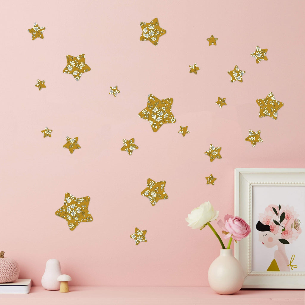 Little Cloud Wall Stickers Stars Liberty Capel MustardLiberty Stars Mix Wall Stickers