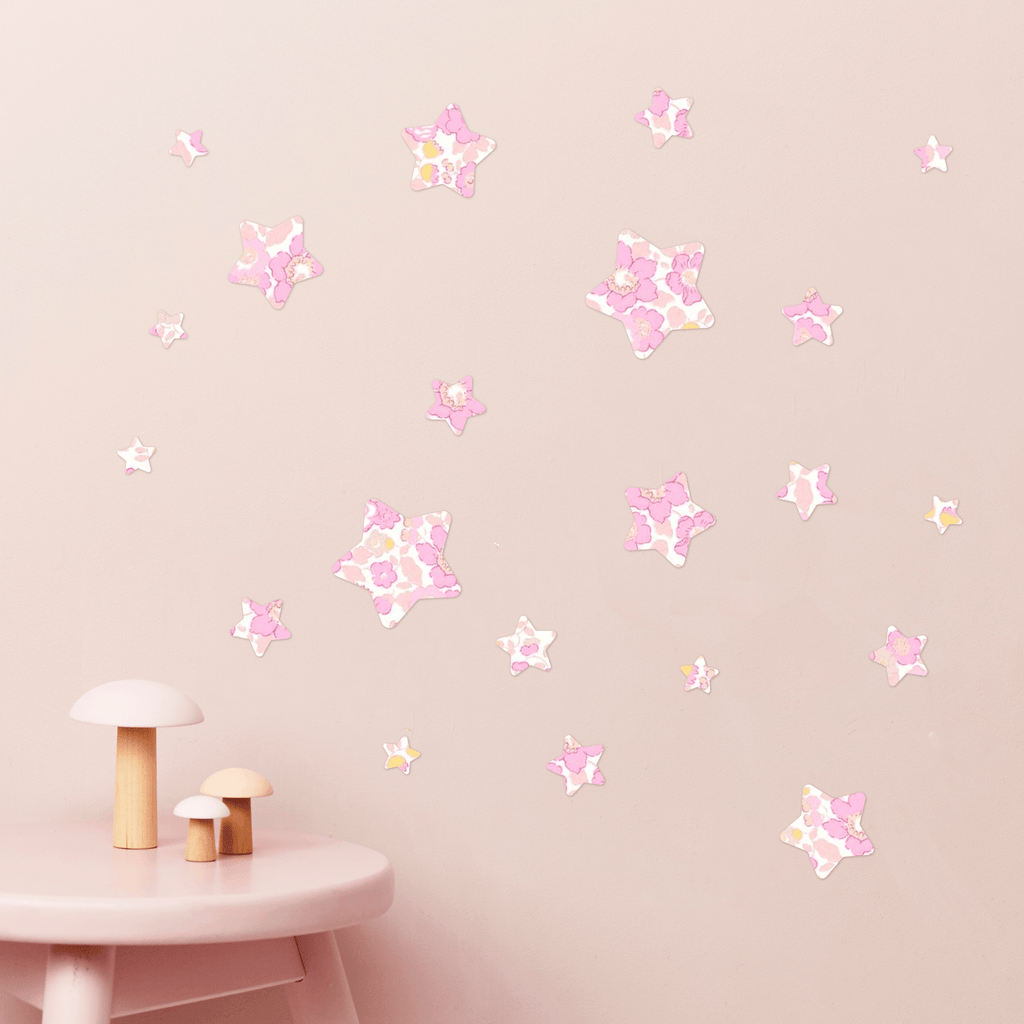 Little Cloud Wall Stickers Stars Liberty Limited Edition - Betsy Metallic Pink Liberty Stars Mix Wall Stickers