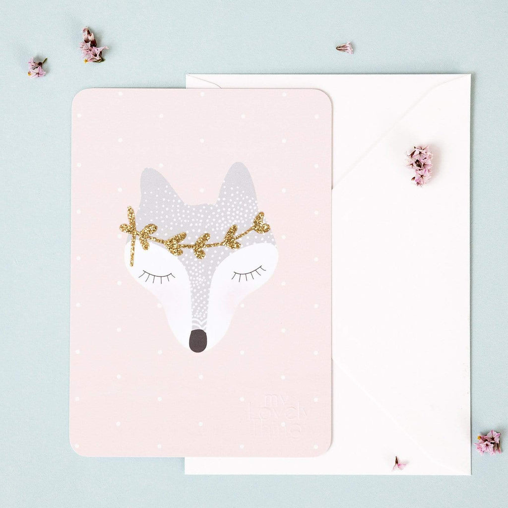 My Lovely Things Postcards Glitter Fox Postcard
