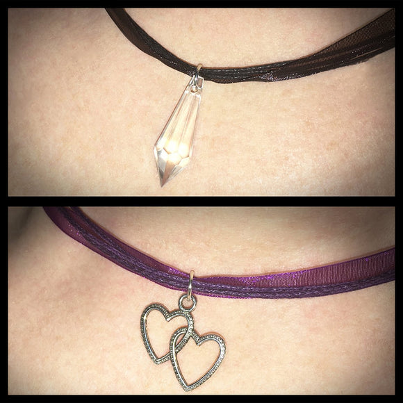 Organza Ribbon & Waxed Cord Choker with Pendant