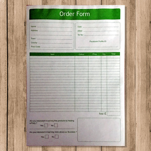Order Form - Green (No Carbon Required) (pck 1000)
