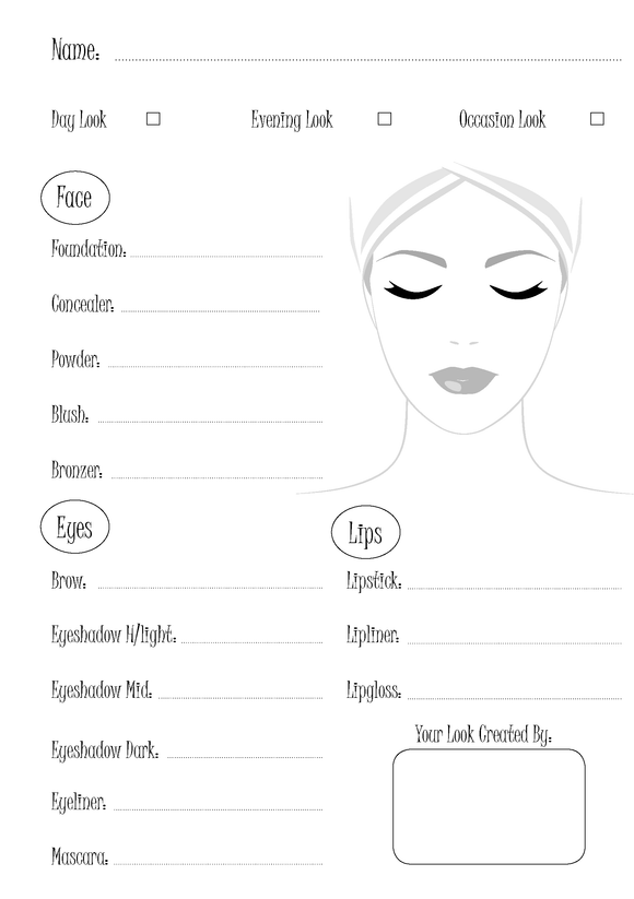 Make-Up Consultation Sheets
