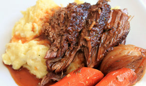 Roast Beef (Slow Cooked, Served Over Potatoes with Carrots)