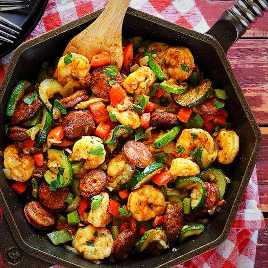 Shrimp and Turkey Skillet