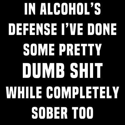 In Alcohol's Defense I've Done Some Pretty Dumb Shit While Completely Sober Too