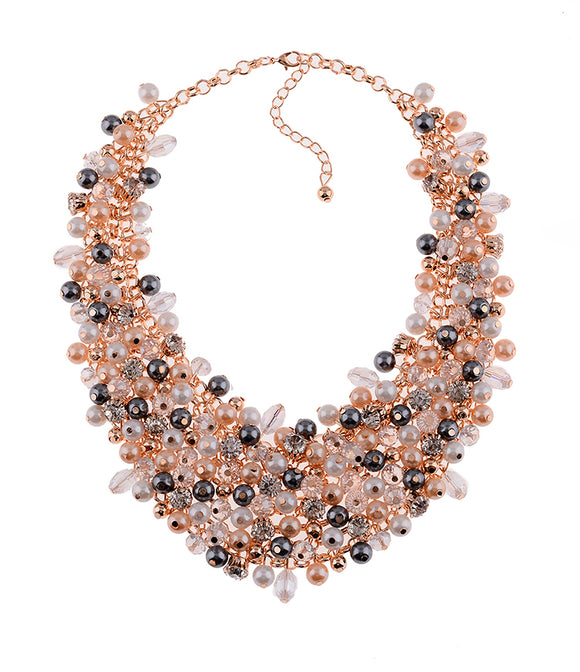 Vintage Pearl Crystal Round Big Ball Charm Statement Necklace