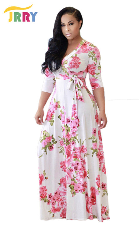 Casual Deep V Neck Sashes Floral Women Maxi Dress Half Sleeve