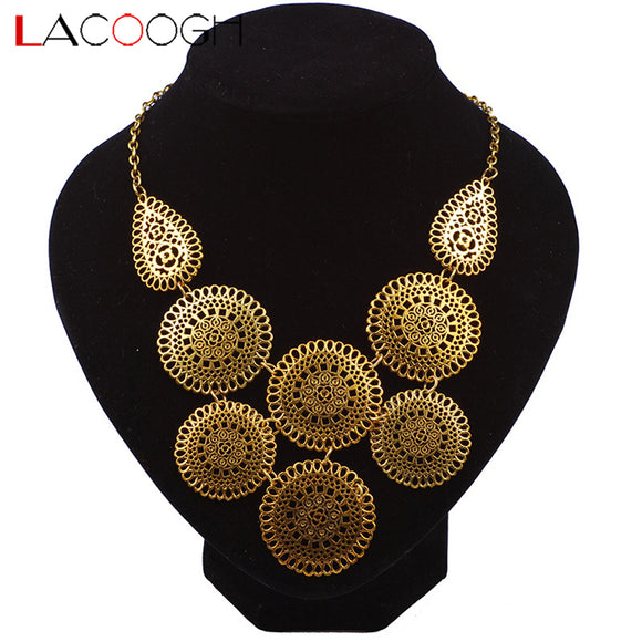 Flower Gold Color Choker Statement Necklace