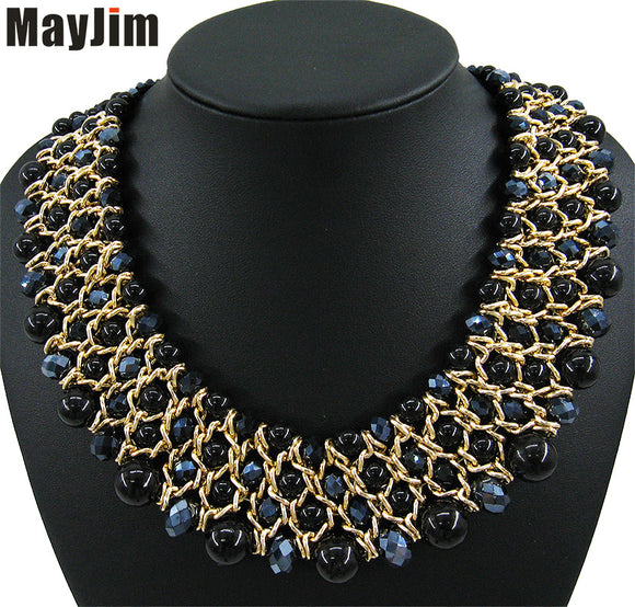 pearl jewelry vintage big crystal statement necklace