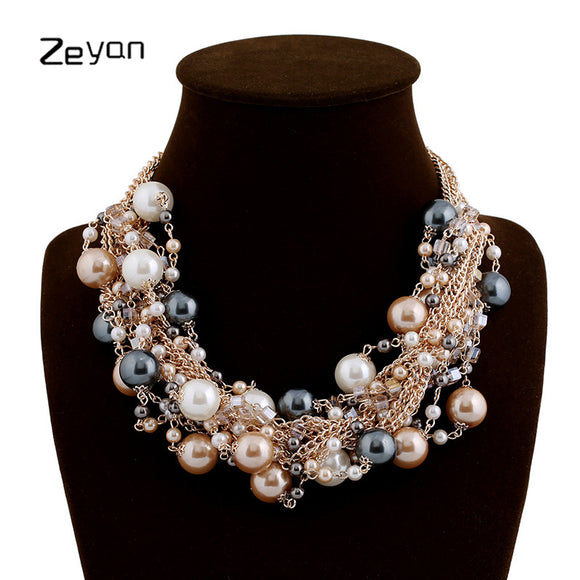 Zeyan Women Necklace Vintage Jewelry Collar Simulated Pearl Necklaces Pendant Trendy Pearl Beads Choker Party Statement Necklace